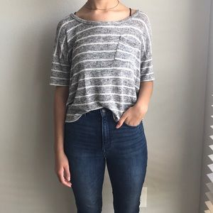 Grey and White Striped Top with Pocket